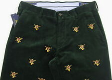 Men's POLO RALPH LAUREN Green Corduroy Pants Fox Hunting 33x32 33 NWT NEW WOW!