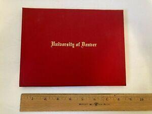 Vintage University of Denver diploma 1963 BA degree Colorado college Everly old