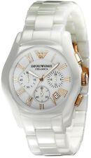 Emporio Armani AR1416 Chronograph White Dial White Ceramic Ladies Watch USA Selr