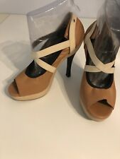 Marni Tan Leather With Wood Heel Open Toed Size 40 Or US 9