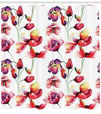 Tulip Shower Curtain Fabric Decor Set with Hooks 4 Sizes Ambesonne