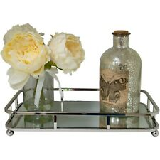 Contemp Silver Rectangular Serving/Dressing Candle Table Tray With Mirror Glass