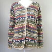 Marisa Christina Crocheted Cardigan Mother of Pearl Buttons Women's Medium