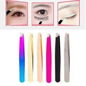 New Pro Stainless Steel Slant Tip Tweezer Precision Eyebrow Hair Remover Tools