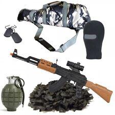 KIDS ARMY SAS URBAN SNIPER SET GUN AK47 NET GRENADE BALACLAVA SOLDIER ROLE PLAY