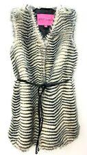 Betsey Johnson Faux Zebra Fur Vest with Removable Belt Size Medium Retail $150