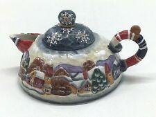 "RARE ""Winter Village"" G. DeBrekht Teapot #95082 Holiday Collectible Handmade"