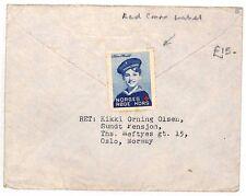 Norway WW2 *RED CROSS* Charity Label Oslo Cover Surrey GB 1945 {samwells}BF119