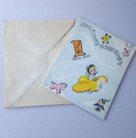 Vintage baby boy's first birthday greeting card airplane unused with envelope