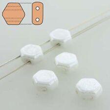 Chalk Luster 30pc 6mm 2-Hole Czech Glass Honeycomb Beads