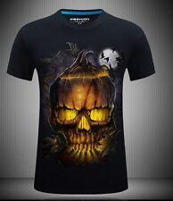 b65e88f862a490 Multicolor 3D Print Skull Graphic Punk Tee Halloween Party Tops T-Shirt  S-6XL