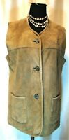 EUC Alphorn 38/M 100% Suede Leather Embroidered Light Brown Lined Button Vest