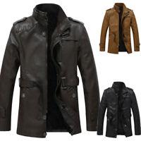 New Men's Black PU Leather Bomber Jacket Flight Coat Motorcycle Biker Outwear