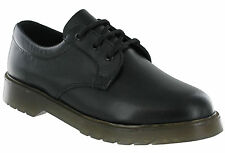 Mens Grafters Black Leather Plain Uniform Work Shoes With Air Cushion Soles UK 8