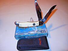 "Ocoee River OC-550WSB 5 1/4"" Folding Hunter White Smooth Bone Handles w/ Sheath"