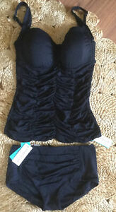 SEAFOLLY Black GODDESS Size 12 Tankini Swimsuit Set BRAND NEW WITH TAGS
