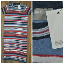ASOS Blue Striped Maxi Sweater Dress Knitwear Short Sleeve Cotton Mix UK 12 New