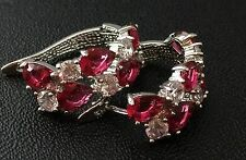 14k White Gold Platinum GF Huggie Earrings made w/ Ruby Red Swarovski Crystal