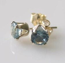March! Round 5mm Created Aquamarine & 925 Sterling Silver Stud Earrings 10147C