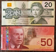 Bank of Canada 1991 $20 and 2004 $50 Banknotes - Great Condition