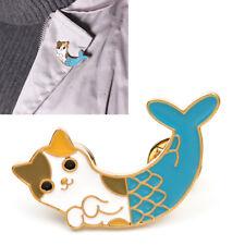 Light Blue Cat Fish Collar Pins Badge Corsage Cartoon Enamel Brooch Jewelry