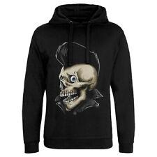 Skull Rockabilly Music Hoodie Rock N Roll Is Dead Smashing Guitars Wasted P111
