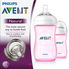 Philips Avent Natural Baby Feeding Bottle Double Pack 2x 260ml Pink SCF694/27