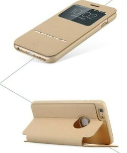 Beige Baseus luxury Pu leather flip case for Apple Iphone 6 6S