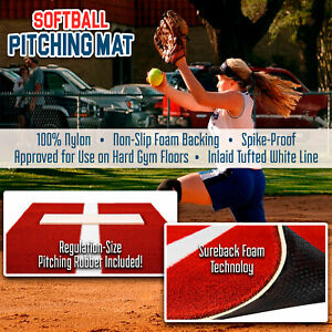 Softball Pitching Mat Training Aid with Mound Power Line Clay 3 feet x 2 feet