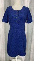 Boden Needlecord Retro Kitsch Floral Print Black Blue Short Sleeve Dress Size 10