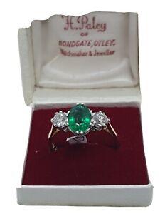 18ct Yellow Gold Amazing Emerald & Diamond Trilogy Ring