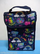 Lisa Frank Lunch Bag Denim Jeans Rainbows Lucky Me Smiley Face Velcro Blue Stars