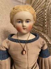 """17"""" Antique German China Doll With Fancy Unusual Hair Parian Style Nice Dress"""