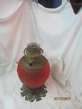 Antique Oil Lamp red satin glass globe Poppies brass base electrified