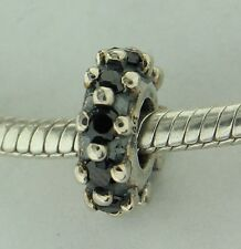 Black CZ Spacer Bead Sterling Silver Charm Fits Chamilia Bracelets