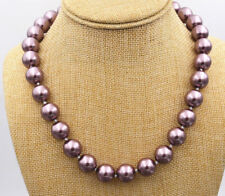 """Charming! 8mm South Black Sea Shell Pearl Necklace 18""""AAA"""