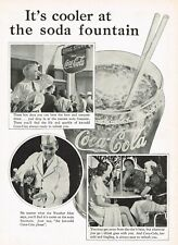 1930s Original Vintage Coca Cola Soda Jerk Fountain Glass Photo Print Ad