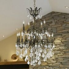 "15-Light Antique Bronze 27"" Diana 2 Two Tier Traditional Crystal Chandelier"