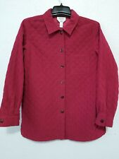 Talbots Womens Jacket Size S Red Quilted Long Sleeve Button Down Front Coat