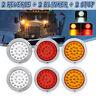 6Pcs Round LED Trailer Tail Light Brake Stop Reverse Turn Lamp Truck Bus Caravan