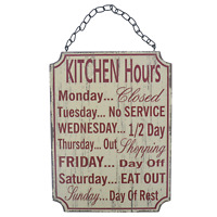 Kitchen Plaque Opening Hours Funny Sarcastic Sign Kitchen Wooden Red Cream 25cm