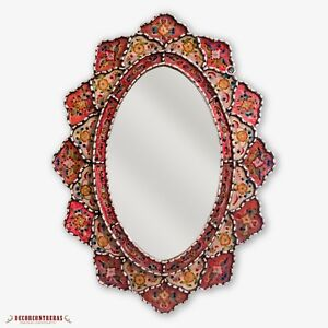 Peruvian Large Oval Wall Mirror, Decorative Accent Wall Mounted Mirror for home