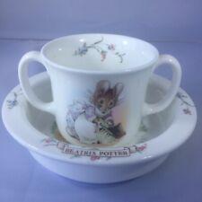 Beatrix Potter Mr. Jeremy Fisher Bowl & Hunca Munca Cup Royal Albert China