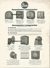 Elion, Lautsprecher für Radio, altes Werbeblatt, Reklame-Flyer um 1930