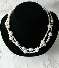 Serling Silver CZ Crystal Pearl Bead Necklace Signed JBB