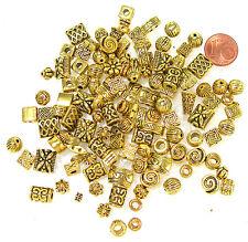 Metallperlen Großpack  Perlen  Mix  Spacer  goldfarben massiv   100 Stück