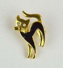 VTG ESTATE Gold Tone Black Enamel Cat Brooch Pin With Crystal Eyes