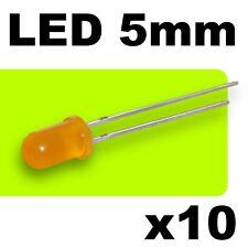 443/10# LED orange  diffusant 5mm --10pcs + résistances