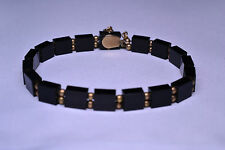 ANTIQUE VICTORIAN 14K YELLOW GOLD BEAD & BLACK ONYX LINK MOURNING BRACELET 7.5""