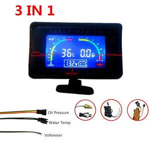 Car Truck 3 Functions LCD Oil Pressure Gauge Monitor+Voltmeter+Water Temp Gauge